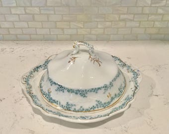 Vintage W H Grindley Green Transferware Butter Dish ALDINE Pattern Made 1880s To 1900s