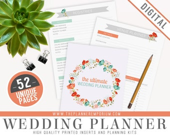 Ultimate Wedding Planner Organizer Kit - Instant Download - Printable DIY - 52 Unique Pages - To Do List, Budgets and More - Wedding Binder