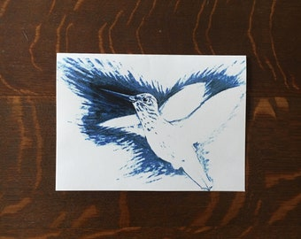 White Hummingbird Greeting Card