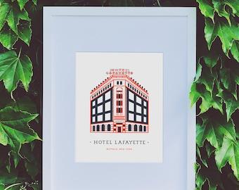 Buffalo Hotel Lafayette Illustrated Wall Art