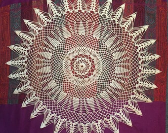 Hand-Crocheted Doily Table-Topper