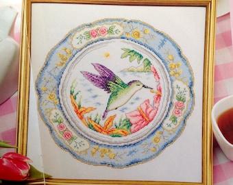 Hummingbird with Decorative Floral Border Cross Stitch Pattern