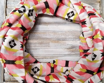Aztec Boho Infinity scarf gift for her-organic cotton circle loop scarf