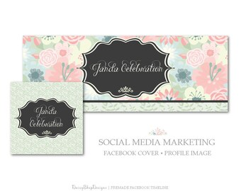 Facebook Cover,Profile Image,Social Media Marketing-Floral,Daisies,Leaves,Swirl-Pink,Green,Black-Facebook Storefront