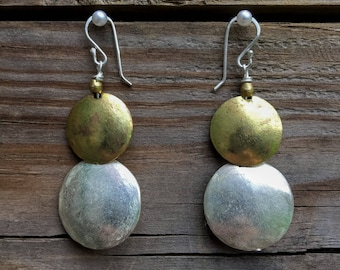 Hammered Silver Disc Earrings from Ethiopia