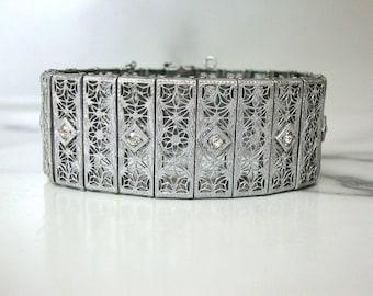 Antique Art Deco Filigree Bracelet, 1920s Wide Filigree Cuff, MJCO Designer Fine Vintage Wedding Jewelry