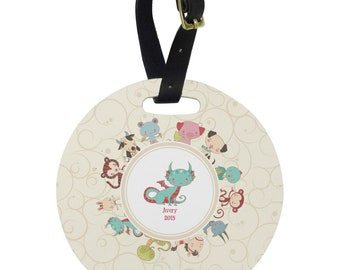 Chinese Zodiac Round Luggage Tag (Personalized)