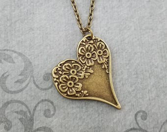 Heart Necklace Flower Heart Charm Necklace Bronze Necklace Bridesmaid Jewelry Pendant Necklace Valentine's Day Gift for Her Mothers Day Gift