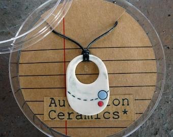 Ceramic planet orbit pendant necklace, space necklace, porcelain pendant necklace, UK seller only, science illustration jewellery