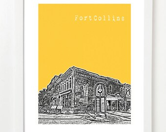 Fort Collins Skyline Poster - Fort Collins Colorado City Art Print - Old Town Fort Collins Art Print