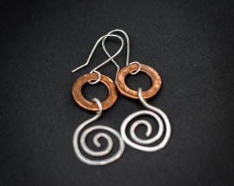Handmade copper and silver filled wire earrings, mixed metal earrings, long dangle copper and silver earrings, textured copper earrings