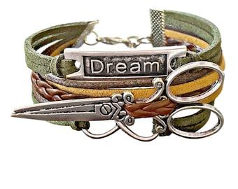 Hairstylist Gift, Hairdresser Jewelry, Scissor Bracelet, Word Bracelet, Beautician Gift, Shears Bracelet, Infinity Bracelet, Dream Bracelet