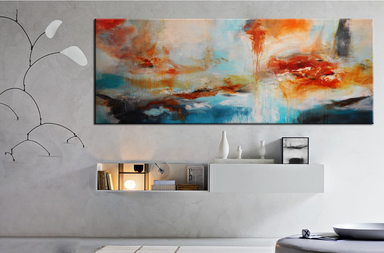Abstrakte Acrylmalerei auf Druck große blaue Druck abstrakte