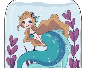 Bottle Mermaid | Art Print | A4, A4