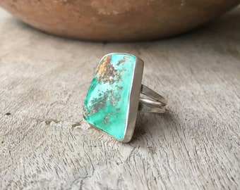 Simple Turquoise Ring for Women Size 5.75 Geometric Ring Sterling Silver Navajo Ring, Graduation Gift for Her Turquoise Jewelry Southwestern