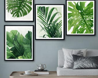 Lovely Tropical Leaves Prints Set Of 4, Tropical Wall Art Palm, Banana,Monstera  Leave