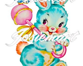 Vintage Digital Download Blue Bunny Kawaii Vintage Image Collage Large JPG