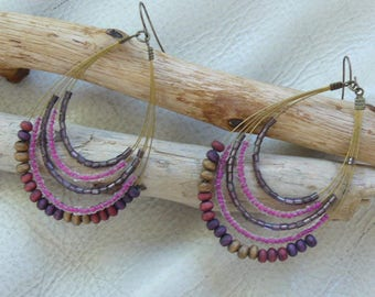 MULTISTRAND pink and purple earrings