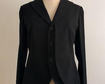 Yohji Yamamoto black silk tuxedo blazer