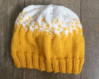 slouchy beanie, fair isle beanie, colourful beanie, mustard yellow beanie, slouchy winter hat, winter hat, fair isle knitting, womens knit