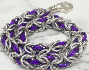 Purple Bracelet - Purple Jewelry - Colorful Byzantine Bracelet - Chainmaille Jewelry - Chainmaille Bracelet - Gift for Her