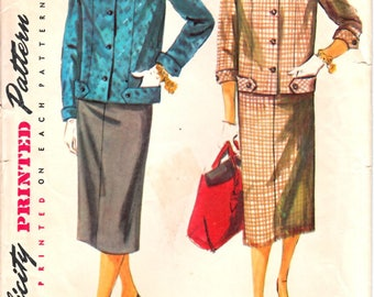 Simplicity 4871 Woman's Easy-Fitting Button Front Banded Jacket, Slim Straight Skirt Two-Piece Suit Sewing Pattern Size 14 Vintage 1950's