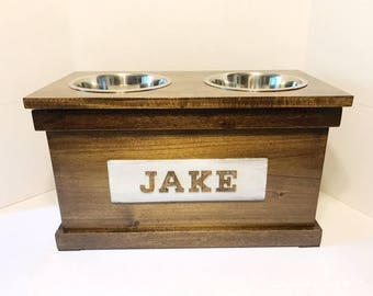Attractive Rustic Wooden Dog Dish Stand With Storage, Dog Feeder, Personalized Dog Bowl,  Dog