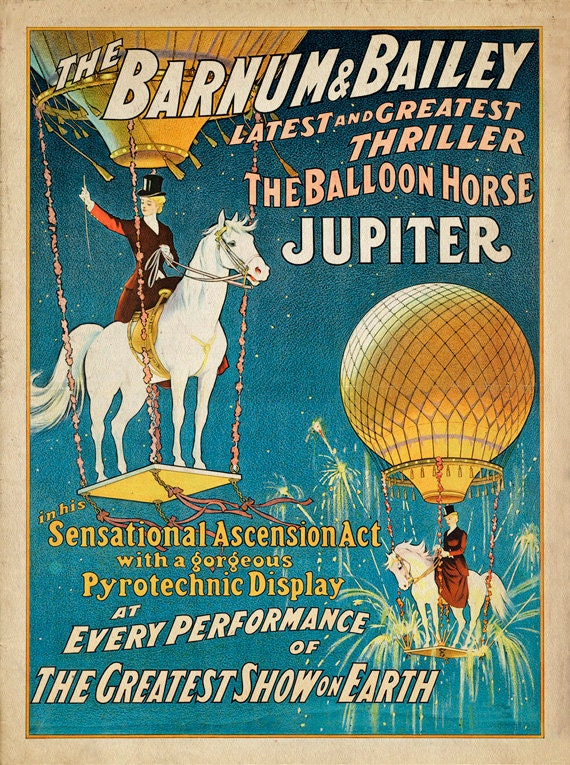 Antique Circus Poster Jupiter The Balloon Horse