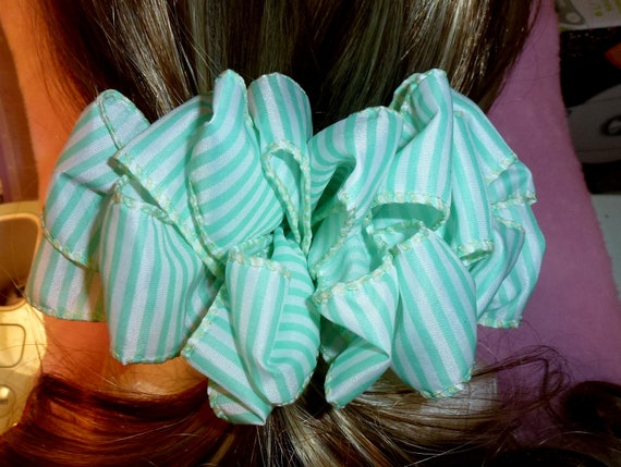 Becky Bows ~  Barrette ribbon Hand crafted oversized  BIG hair bow Women or Girls green white stripes