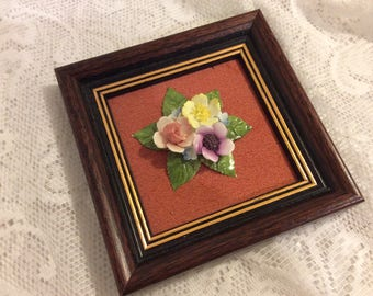 Royal Adderley China Posy Picture Framed Christmas gift Gift for her