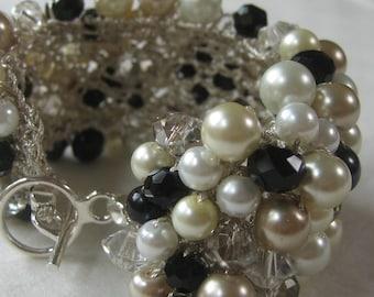 Black, White, Ivory, Champagne Cuff Bracelet, Smokey Quartz Crystal, Elegant Pearls, Classic Hand Knit, Sereba Des