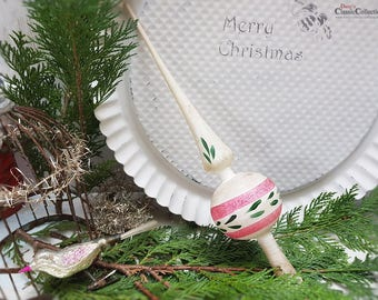 Rare old WHITE christmas tree topper with pink and green painting ~ vintage christmas ~ hw3782