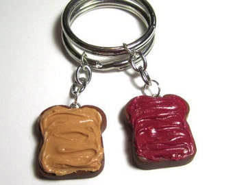 Peanut Butter And Jelly Polymer Clay Bestfriend Keychains