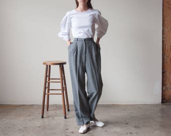 patterned wool pleated trousers / wool permanent pleat trousers / baggy pants / US 10 / 30 W / 2975t