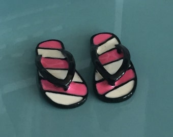 Miniature Flip Flops, Pink and White Stripe Flip Flop Shoes, Sandles, Dollhouse Miniature, 1:12 Scale, Accessories, Decor, Mini Shoes