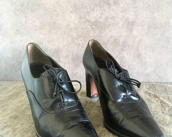 Vtg 90 's Women's Size 6.5 Mr Seymour Lace up Ankle Boot Oxford Black Leather Heel Pump
