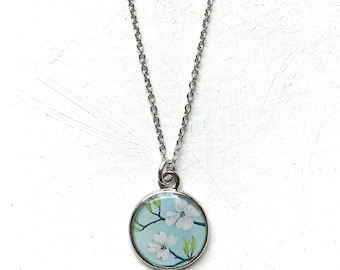 Dogwood Painting, Spring Flower, Dogwood Branch Necklace, Sky Blue Wearable Art, Silver Dogwood Necklace, Art Jewelry