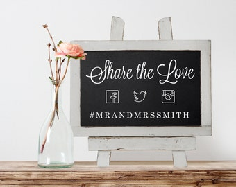 Share the Love Hashtag Sign - Share the Love - Chalkboard Hashtag Sign - Share the Love Wedding Sign - Wedding Hashtag Chalkboard