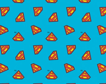 Superman Shield Logo Blue Superhero DC Comics Cotton Fabric from DC Collection by Camelot Fabrics