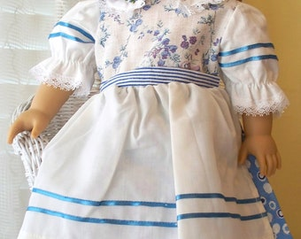 Handmade Doll Clothes Blue Flowers Dress Fits 18 inch dolls