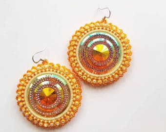 Orange & Yellow Beaded Earrings