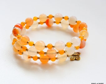 Orange Bead Bracelet, Orange Agate Bracelet, Beaded Wrap Bracelet, White Bead Bracelet, Memory Wire Bracelet, Agate Gemstone Jewelry