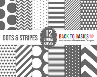 Gray Digital Paper: Digital Scrapbooking Paper in Grey Chevron, Polka Dots, Stripes - Back to Basics Series - Commercial Use