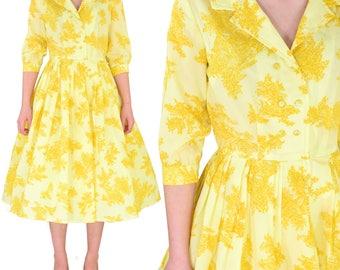 Gorgeous 1950's Vintage Women's S Handmade Toile Print Yellow Tea Dress