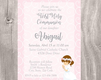 First Communion Invitation, Printable First Holy Communion Girl Invite, Invitacion Primera Comunion, Girl First Holy Communion Pink Invite