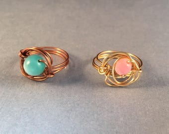 BOGO Gold and Pink Ring and Copper and Turquoise Ring, Wire Wrapped Rings, Ring Size 8.75, One of a Kind, Previously 30 Dollars ON SALE