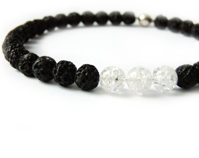Black and White Beaded Lava Stone Necklace, Short Monochromatic Rock Crystal Classy Gemstone Choker Magnetic Sterling Silver Clasp