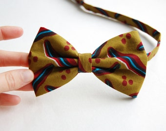 Vlisco Bow Tie Adjustable Olive Green Bow Tie African Wax Print Christmas Gift