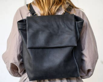 Cloudy Black Leather Backpack, Laptop Leather Backpack, Tote Bag, Handmade Leather Bag, Women Work Bag, Gray Bag - Cloudy Black Francis