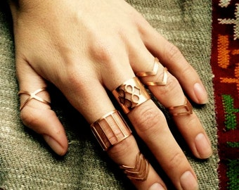 Boho rings, bohemian rings, midi ring, hippie rings, copper rings, tribal rings, midi set, brass rings, boho jewelry, midi rings, ring sets
